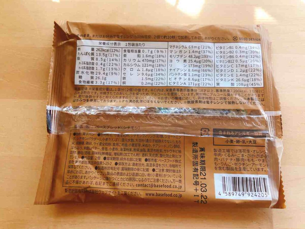 ベースブレッドのシナモン味の栄養成分表示